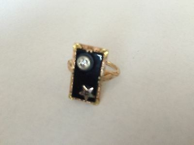 FRATERNAL LADIES 10k GOLD W/ DIAMOND RING -THE ORDER OF THE EASTERN STAR