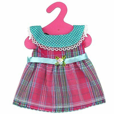 Round Collar Plaid Princess Dress Skirt For 18'' American Girl Doll Clothes Gift