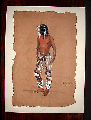 original movie drawing;stylized masked Indian for a western, with notes,1940s