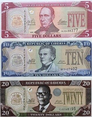 Liberia 2003 11  5 10 20 Dollars Set Of 3 Great Uncirculated Banknotes