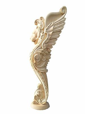 Wooden stairs Baluster, unique carved  gryphon statue, decorative element.