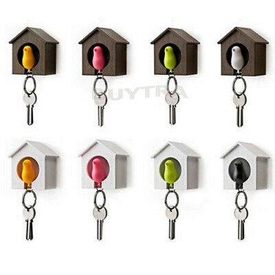 Stylish Lover Sparrow Key Ring Birdhouse Gadget Home Wall Hook Holder Keychainw3