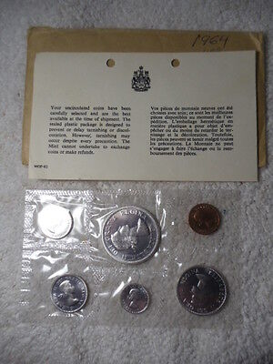 1964 Canada Proof-Like Set, Uncirculated 6 Coins, Original Mint Sealed Package