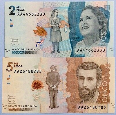 NEW COLUMBIA 2 5 Pesos 2015 NEW DESIGN NEW Pic UNCIRCULATED BANKNOTES