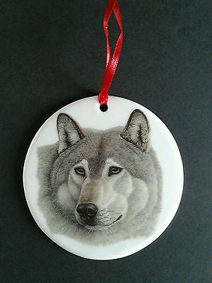 Wolf Porcelain Ornament