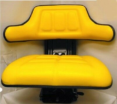 New Replacement Universal Tractor Seat-Yellow W/ Shock Absorbing Cylinder System