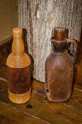 Vintage Leather and Raw Material Covered Decanters Artesania Spain