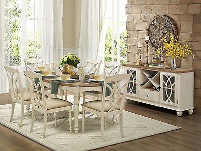 GLEN - 7pcs Cottage White Rectangular Dining Room Table Chairs Set New Furniture