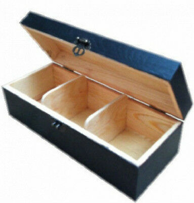 Wood Tea Box Caddy Chest Storage 3 Compartment Painted Ebony Slcb