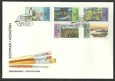 Sweden 1996 Art Summer Paintings Flowers Trees Cycling Bicycle Fdc