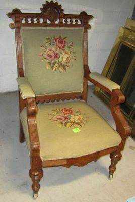 Needle Point Upholstered Antique Chair