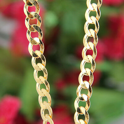 """7mm Heavy Sterling Silver 18ct Gold Plated Curb Mens Gift Chain 22"""" Necklace 28g"""