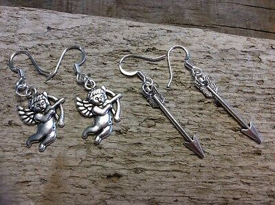Two Pairs Silver Valentines Cupid Arrows Charms Earrings SS Plated Hypoallergeni