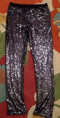 Girls M&S Black Sequin Leggings Trousers Age 13-14 Years Sparkly