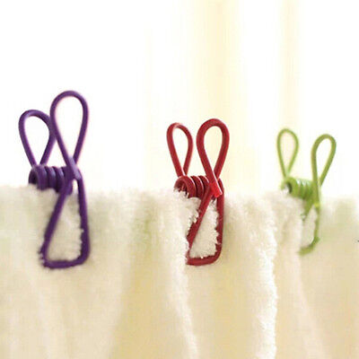 10x Metal Clamp Clothes Laundry Hangers Strong Grip Wash Line Pin Pegs Clip w3