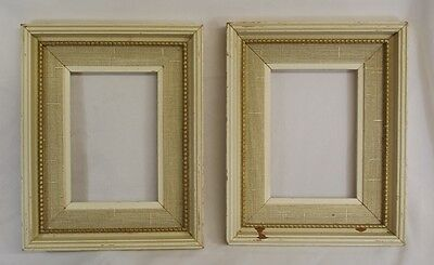 2 Vtg 9x7 Fancy White Beaded Wood Picture Frames 5.5x4 Pic Repurpose Distressed