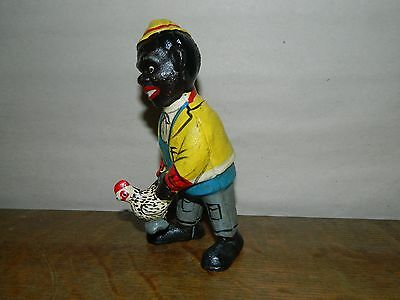 "5 1/4"" Nostalgic Black Americana Chicken & Man Penny Dime Cast Iron Bank"