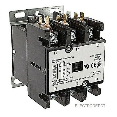 40 AMP DEFINITE PURPOSE CONTACTOR 3 Pole 120V Coil Lighting Heating 50A 40A HVAC