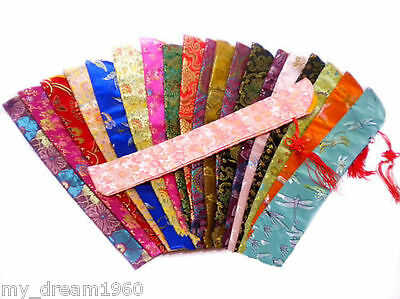 Wholesale 10 Mix Chinese Silk Folding Hand Fan Pouch Chopstick Cover Case