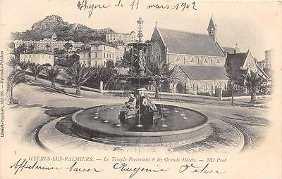 Cpa 83 Hyeres Le Temple Protestant Grands Hotels