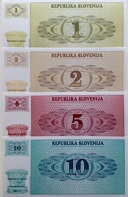 SLOVENIA SET 1 2 5 10 Tolarjev 1990 x4 GREAT SET Of UNCIRCULATED BANKNOTES
