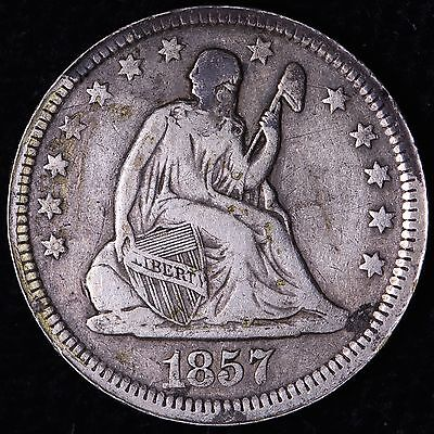 VF 1857 Seated Liberty Quarter R11NM