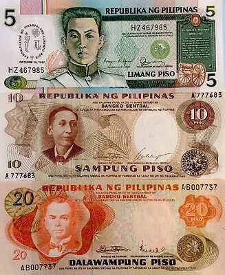 PHILIPPINES 5 10 20 Piso GREAT COLOURFUL 1980s UNCIRCULATED BANKNOTE SET