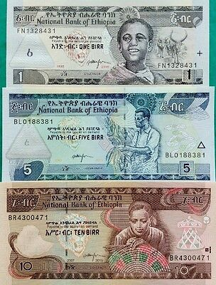 ETHIOPIA 1 5 10 Birr GREAT NEW SET Of UNCIRCULATED BANKNOTES 2006/2015 ISSUE
