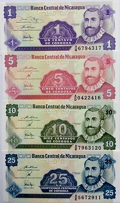 NICARAGUA 1991 1 5 10 25 Centavos NEW SET Of GREAT UNCIRCULATED BANKNOTES