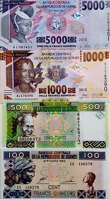 GUINEE 100 500 1000 5000 Francs NEW 2012 2015 GREAT UNCIRCULATED BANKNOTES
