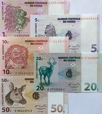 CONGO 1 5 10 20 50 Centimes 1997 NEW GREAT UNCIRCULATED BANKNOTES