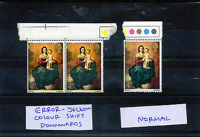 G.B.stamps QEii, 1967 Christmas 4d, ERROR, greenish yellow color shift downwards