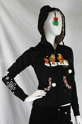 Paul Frank Julius & Friends XS $78 Ladies Christmas Carol Hoodie Mistletoe - NWT