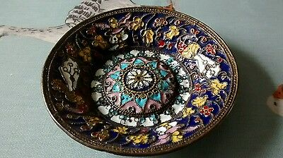 Small vintage vibrantly coloured cloisonee brass plaque / pin tray