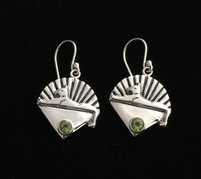 Cats Earrings & Peridot Stone -Inspired by Jerry Garcia & Grateful Dead- 100mics