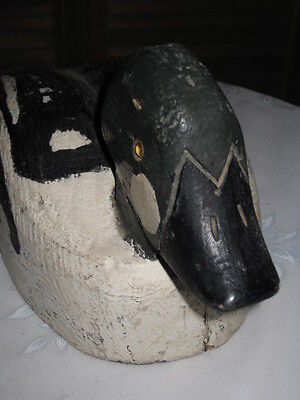 Vintage, Hand Carved, Wooden Duck Decoy, Glass Eyes