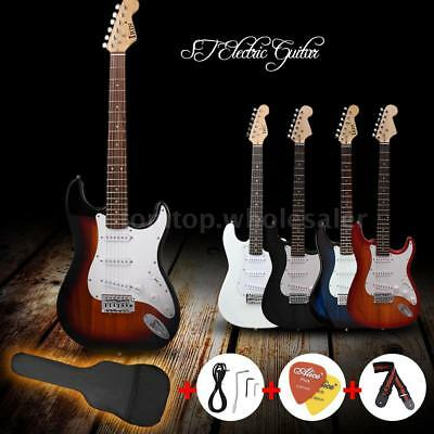 ST Full Size Electric Guitar+Gig Bag Picks Strap Accessories Gift for Beginners