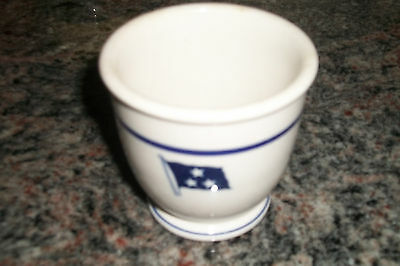 Vintage US NAVY Mess Egg Cup 3-Star Admiral's Flag China Dishes Shenango WWII nr