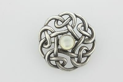 Vintage Boma Sterling Silver Celtic Knot Mother of Pearl Brooch Pin