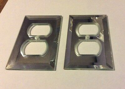 LOT of TWO Vintage BEVEL MIRROR Outlet Cover Plates