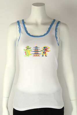 Paul Frank LG $33 White Julius Friends Tokyo Godzilla Robot Sleep Tank Top NWT