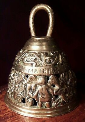OLD BRASS SANCTURY BELL featuring 4 apostles.