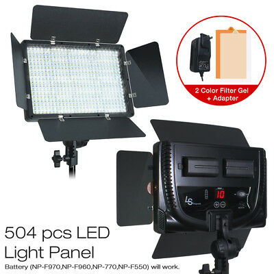 Photography Video Studio 500 LED Light Panel Kit Lighting Dimmer Mount Photo