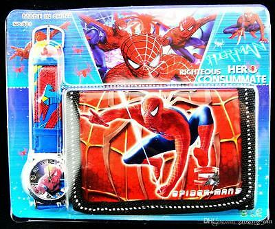 New Spiderman  Kids Boys Wrist Watch and Purse Wallet SET