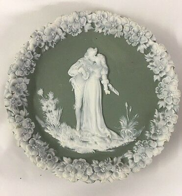 ANTIQUE GREEN & White German JASPER WARE BISQUE Wall Plaque Couple Kiss Kissing