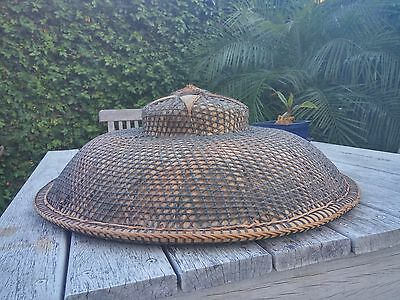 Vintage Asian Philippines Palm Leaf Coolie Rice Paddy Farmer Hat