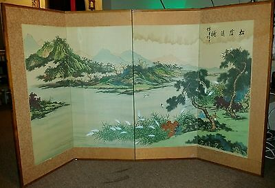 Vintage Painted Chinese Japanese Asian Folding 4 Panel Decorative Screen SIGNED
