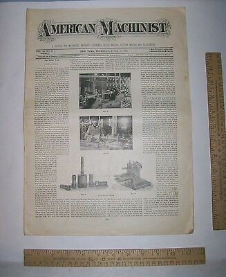 APR 25, 1895 - AMERICAN MACHINIST - Magazine Back Issue - VOL 18, No 17 - As Is