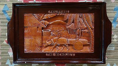 Vintage THE NICHOLAS 's Carve Wood Tray Philippines GREAT GIFT for a NICHOLAS