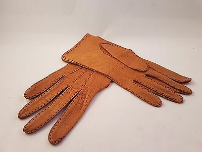 Vintage Womens Brown Tan Pigskin Leather Gloves 1950's 1960's Small Medium 7